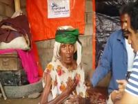 سلامه.. عجوز نازحة يملئ جسمها النحيل سوء التغذية فقدت مأواها الوحيد وتفترش العراء!